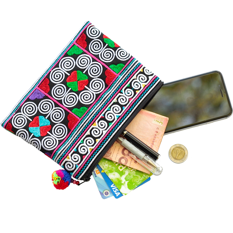 Sabai Jai Multicolor Cosmetic Pouch with accessories