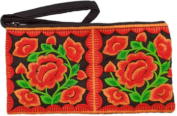 Small Floral Wristlet (Orange/Black)