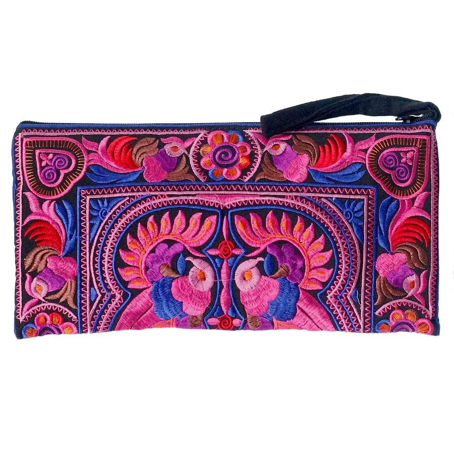 Sabai Jai Pink Medium Twin Bird Clutch bag