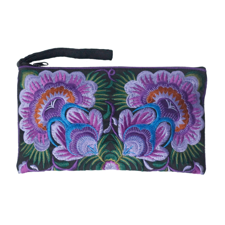 Sabai Jai Purple Twin Flower Clutch bag
