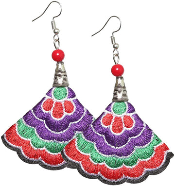 Boho Earrings (Purp/Green/Red)