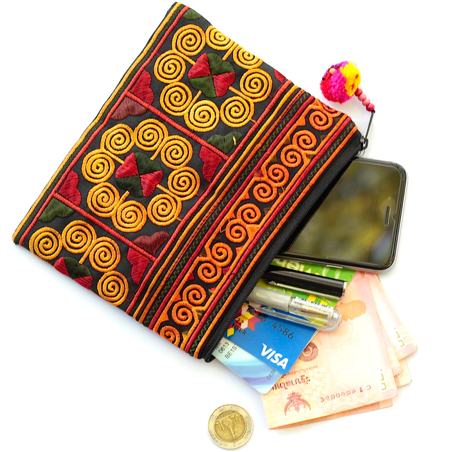 Sabai Jai Red Cosmetic Pouch with accessories