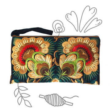 Twin Flower Clutch (Golden Green)