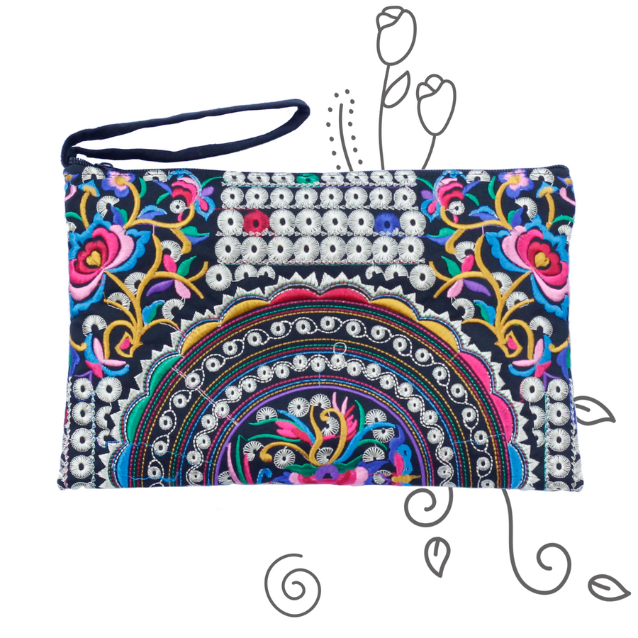 Silver & Multicolor Rose Clutch