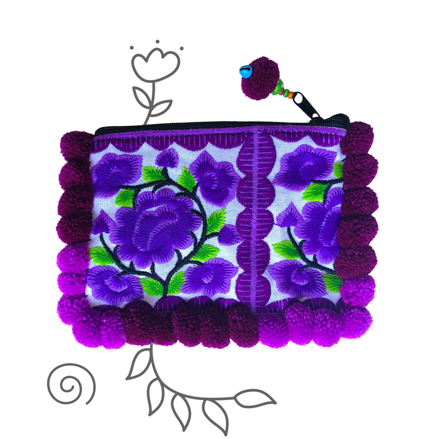 Small Pom Pom Floral Clutch (Purple)