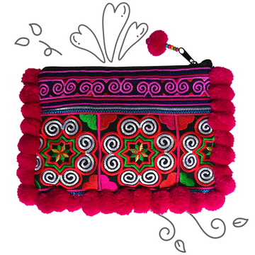 Pom Pom Spiral Clutch (Pink/Red)