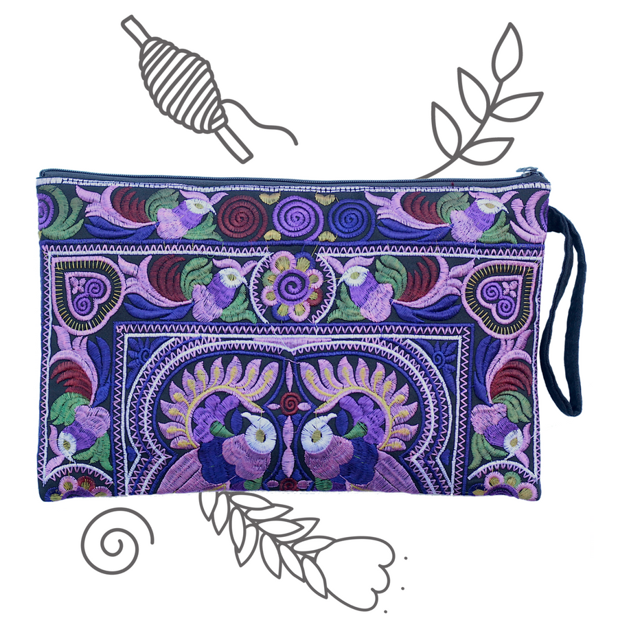 Large Twin Bird Clutch (Dark Violet)