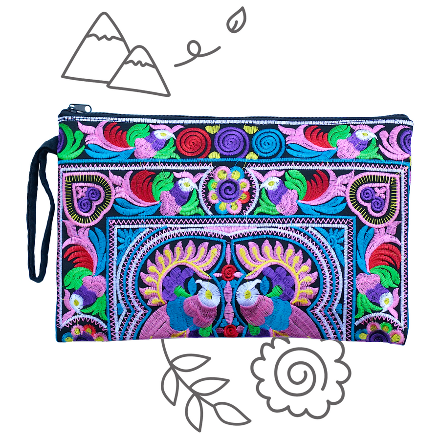 Large Twin Bird Clutch (Pink & Multicolor)