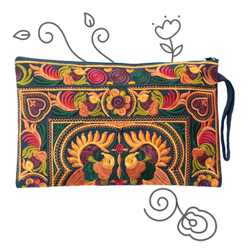 Large Twin Bird Clutch (Gold & Ivy)