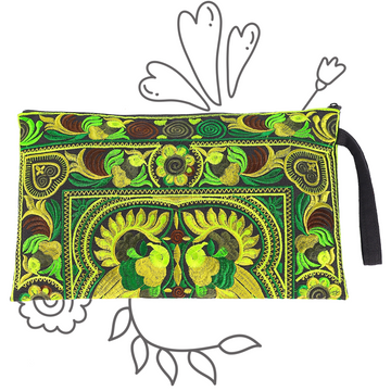Large Twin Bird Clutch (Green)