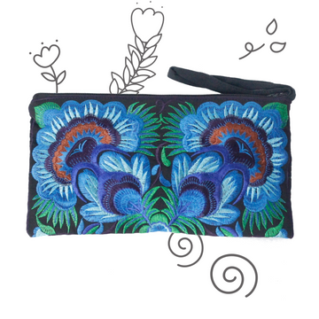 Twin Flower Clutch (Deep Blue)