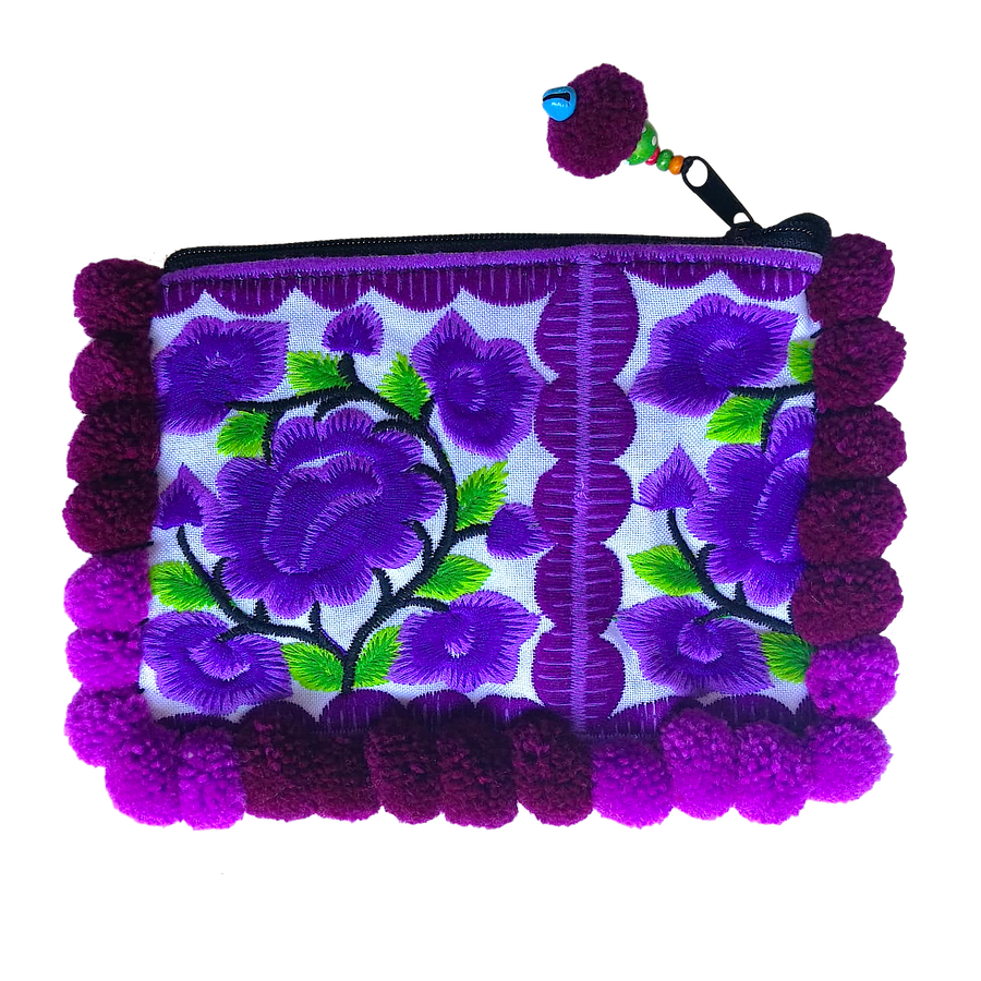 Sabai Jai Purple Small Pom Pom Floral Clutch