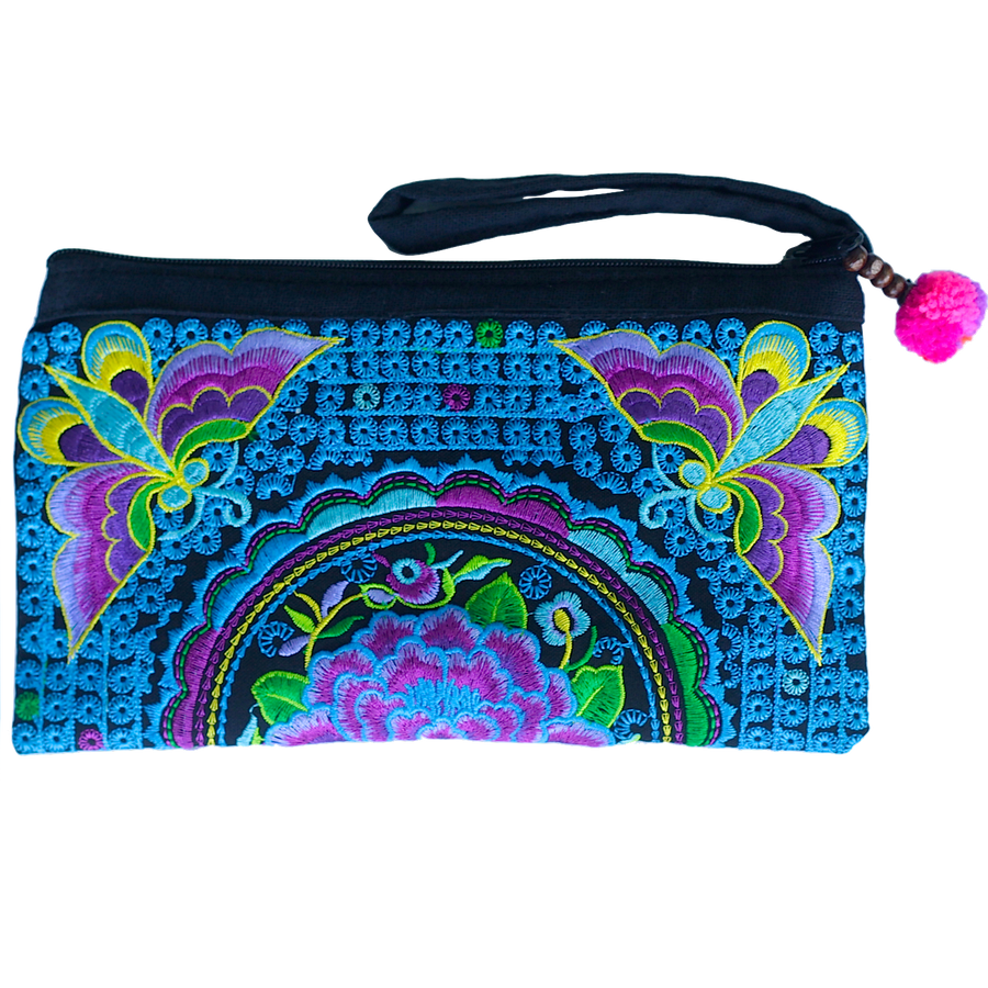 Sabai Jai Violet & Electric Blue Atlas Moth Clutch bag