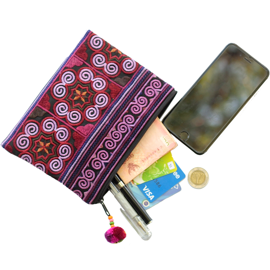 Sabai Jai Dark Violet Cosmetic Pouch with accessories