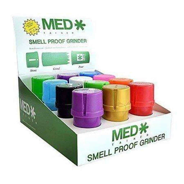MedTainer Storage Smell-Proof Grinder 12 Count Display Assorted Colors