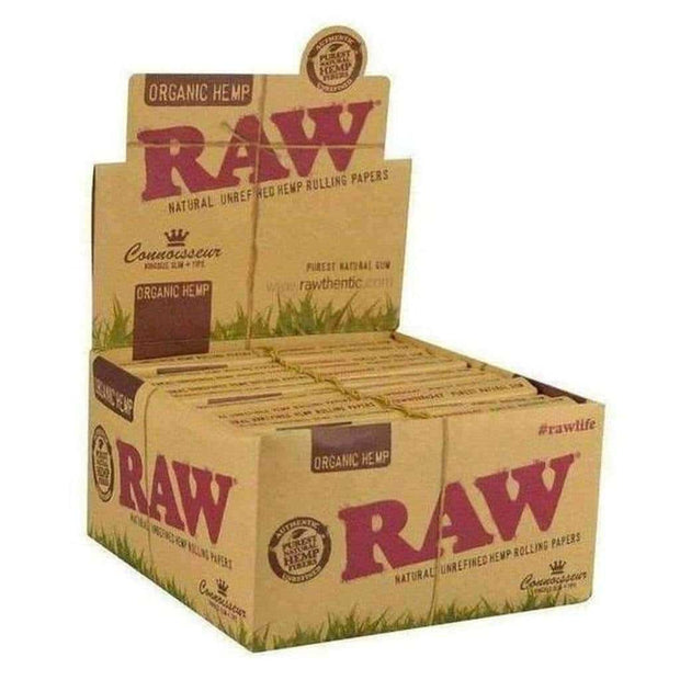 Raw Organic Connoisseur Kingsize Slim Papers With Tips 24pk
