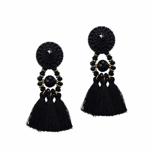 Fashion Jewelry - Earrings - Long Hanging Drops Tassels With Stone - Blissful Delirium
