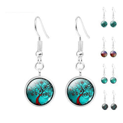 Fashion Jewelry - Earrings - Glass Cabochon Hanging Earrings Tree Of Life - Blissful Delirium