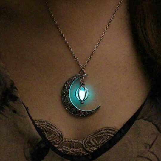 Fashion Jewelry - Necklaces - Glowing In The Dark Pendant Hollow Moon & Heart - Blissful Delirium