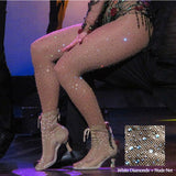Sexy Rhinestone Mesh Fishnet Pantyhose Women Bling Tights Slim Pantyhose In A Grid Stockings Plus Size Party Club Hosiery SW071