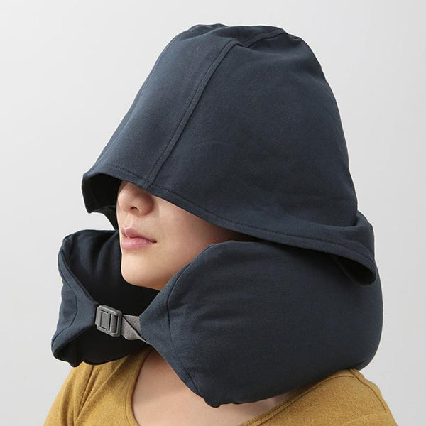 Portable Travel U-Shaped Neck Support Pillow With Hoodie Suitable Gift for Men and Women - Blissful Delirium