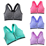 Sports Bra - Women Yoga Running Fitness Stretch Seamless Tank Top Front Zip - Blissful Delirium