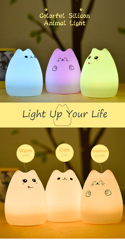 Cute Color Changing Silicone Touch Sensor LED Night Light For Children Baby Kids