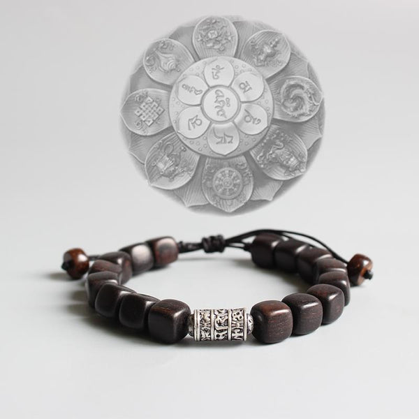 Natural Dark Sandalwood With Tibetan Buddhism Om Mani Padme Hum Amulet Charm Bracelet - Blissful Delirium