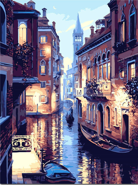 Gondola Night Paint-By-Number Kit - Blissful Delirium