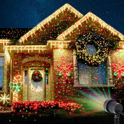 Laser Projector Stars Red Green Showers lights Outdoor Waterproof IP65 Garden Decoration Static Twinkle with RF remote
