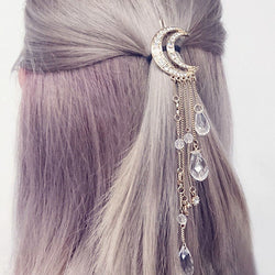 Fashion Jewelry - Hair Clip - Bobby Pin Crystal Moon Hair Clip Tassels - Blissful Delirium