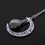 Fashion Jewelry - Necklaces - Glowing in Dark Silver Plated Chain Moon Luminous Pendants - Blissful Delirium