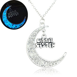 Fashion Jewelry - Necklaces - Glowing In Dark Moon Pendant with Words - Blissful Delirium