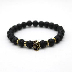 Antique Skeleton Skull Bracelet With Black Lava Stone Bead - Blissful Delirium