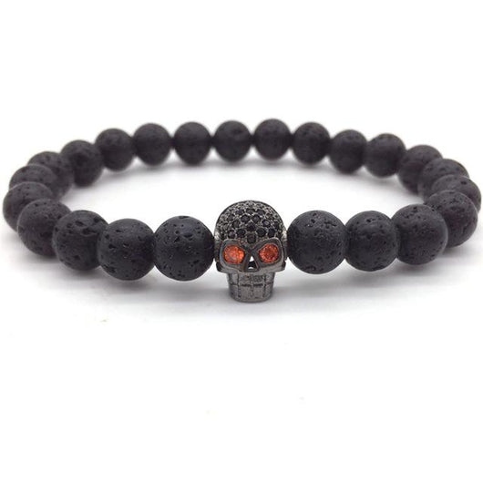 Intricate Distinctive Lava Stone Skull Head Charm Bracelet - Blissful Delirium