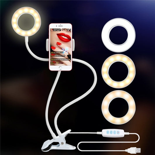 Selfie Ring Light with Cell Phone Holder Stand for Live Stream/Makeup Compatible with iPhone 8 7 6 Plus X Android - Blissful Delirium