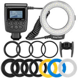 Flash Light with LCD Display Adapter Rings and Flash Diff-Users For Nikon Canon Pentax Olympus Panasonic Camera