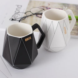 Creative Black and White Polygon Geometric Ceramic Mug | Lovely Couple Mug - Blissful Delirium