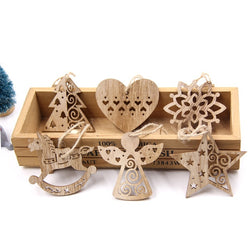 6PCS European Hollow Christmas Snowflakes Wooden Pendants Ornaments for Xmas Tree - Blissful Delirium