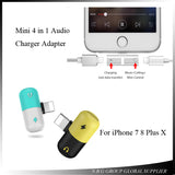 Mini 4 in 1 Function Wired Earphone & Charger Adapter For iPhone 7, 8 Plus, X - Blissful Delirium