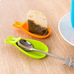 Useful Rabbit Shape Silicone Tea Bag Holder | Hanging Tool | Spoon Holder