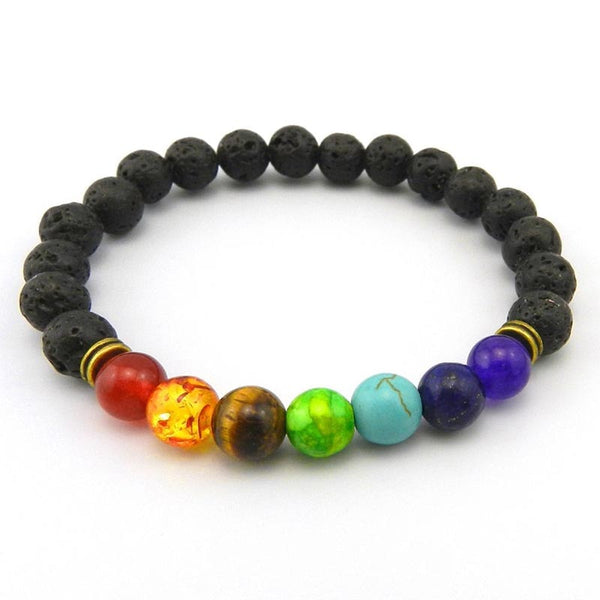 7 Chakra Healing Natural Lava Stone Diffuser Beaded Bracelet - Blissful Delirium