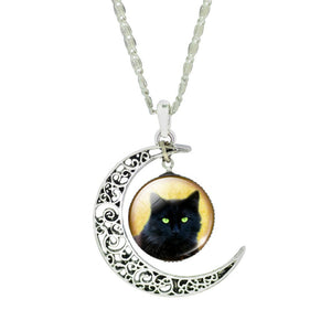 "Chain Choker Necklace ""Cat on a Crescent Moon"" Pendant - Jewelry For Women"