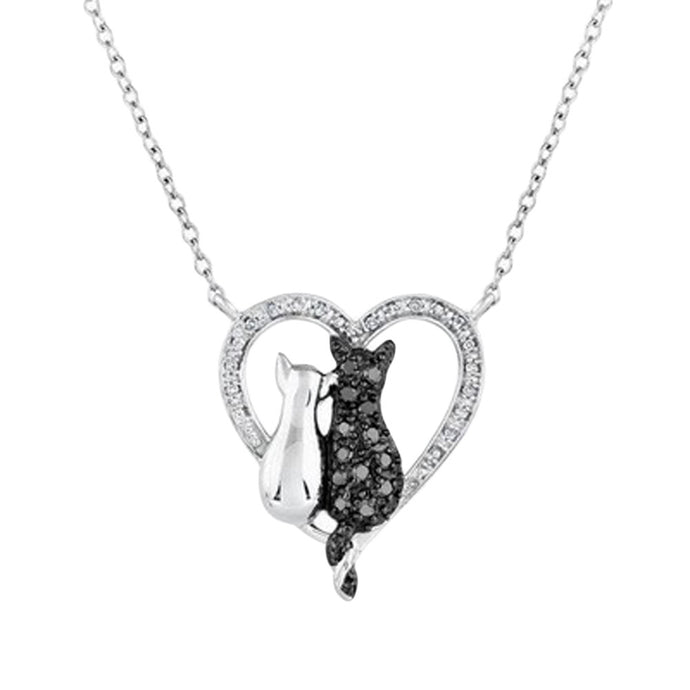 Heart with Black & White Cat, Lovers - Silver Color Pendant Necklace