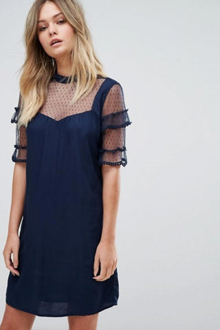 Lace Ruffle Dress - namshi dress dubai