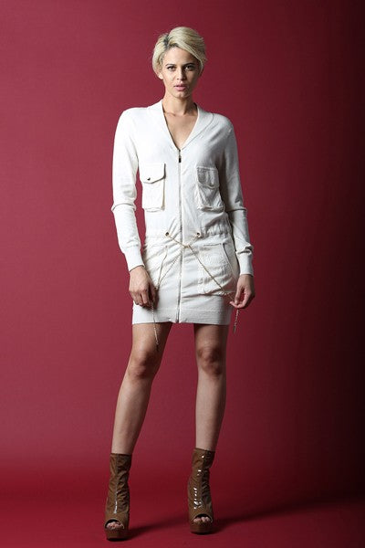 Ivory Cargo Dress With V-Neckline - namshi dress dubai