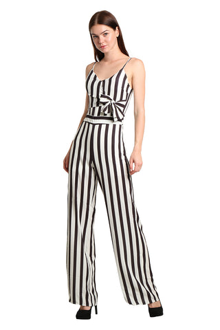 Stripe Tie Waist Jumpsuit - namshi dress dubai