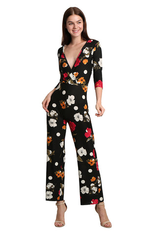 Floral V-Neck Jumpsuit - namshi dress dubai