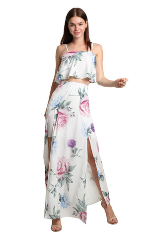 Flowery White Set - namshi dress dubai