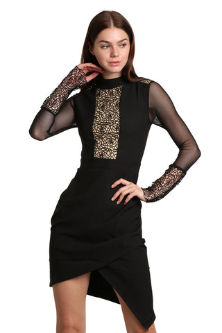 Black Midi Detail Dress - namshi dress dubai